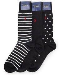 POLO Ralph Lauren Dreierpack gepunktete und gestreifte Socken in Schwarz und Weiß