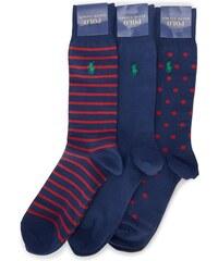POLO Ralph Lauren Dreierpack gepunktete und gestreifte Socken in Blau und Rot