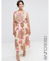 ASOS CURVE SALON Pretty Floral Soft Midi With Embellished Bodice - Mehrfarbig