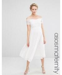 ASOS Maternity - Jupe patineuse en dentelle plissée style Bardot - Blanc
