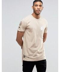 ASOS - T-shirt ultra long avec ourlet asymétrique et imprimé roue enflammée, effet vieilli - Beige