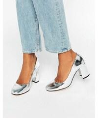 Dune - Abell Silver Mirror - Chaussures en cuir à talons avec bout carré - Argenté