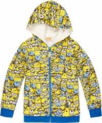Minions Sweatjacke mit Teddyfutter gelb in Größe 116 für Jungen aus 60 % Baumwolle 40 % Polyester