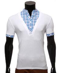 Re-Verse T-Shirt mit kariertem Hemdkragen - Weiß - S