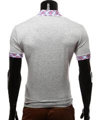 Re-Verse T-Shirt mit kariertem Hemdkragen - Grau - S