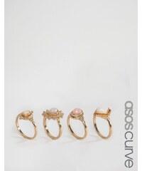 ASOS CURVE - Bagues à superposer pierres pastel - Multi