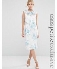 ASOS PETITE - SALON - Robe fourreau en dentelle à corsage court et imprimé fleurs bleues - Blanc