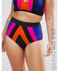 City Chic - Bas de bikini taille haute à rayures - Multi