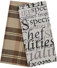 Utěrky SPECIALITIES, 2 KUSY, 100% bavlna, hnědá, 45x65 cm Essex