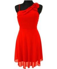 Silueta Červené šaty s ozdobou