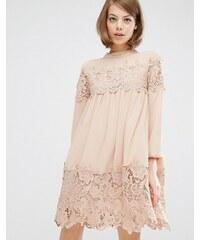 Fashion Union - Robe tunique à manches longues avec empiècements en dentelle - Beige