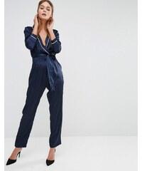 Fashion Union - Combinaison drapé en satin avec lien à la taille - Bleu marine