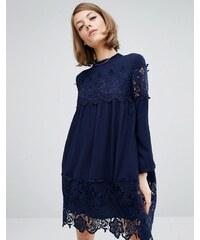 Fashion Union - Robe tunique avec inserts en dentelle - Bleu marine