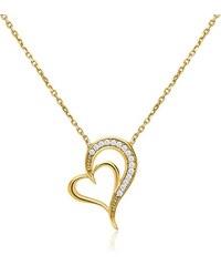 Unique Jewelry 333er Gold Kette mit Herzanhänger Zirkonia GN0001