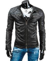 Coolbuddy Pánská černá bunda z eko-kůže a prošíváním 6374 Velikost: 3XL