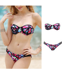 Lesara Bandeau-Bikini mit abstraktem Muster - S