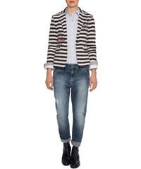 Pruhovaný modro-béžový blazer|L Soccx 258425