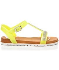 BEST SHOES Žluté sandály zdobené kamínky