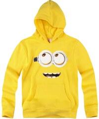 Minions Sweatshirt mit Kapuze gelb in Größe 116 für Jungen aus 80% Baumwolle 20% Polyester