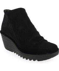 Boots Femme Fly London en Cuir velours Noir