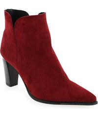 Boots Femme Myma en Cuir velours Rouge