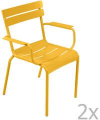 Sada 2 židlí Luxembourg s područkami, medově žlutá
