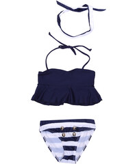 Lesara Kinder-Bikini mit Stirnband & Streifen-Panty - 92