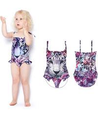 Lesara Kinder-Badeanzug mit buntem Tiger-Print - 92
