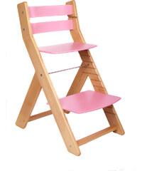 Wood Partner Rostoucí židle Mony - přírodní lak / růžová
