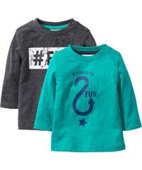 bpc bonprix collection Lot de 2 T-shirts bébé à manches longues en coton bio vert enfant - bonprix