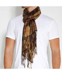 Trendhim Hnědozelený kostkovaný šátek B3-1-262