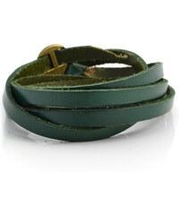 Trendhim Zelený nastavitelný kožený náramek B2-1-310