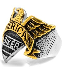 SteelCZ Motorkářský prsten Golden Eagel z oceli L1-3-1921
