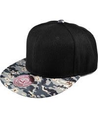 Crown Caps Černo-šedá snapback kšiltovka Kamufláž L3-5-2131