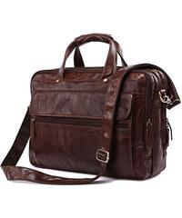 Delton Bags Hnědá prostorná kožená taška Cario Multi AC12