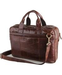 Delton Bags Tmavě hnědá kožená taška přes rameno AD1