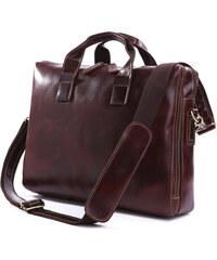 Delton Bags Moderní hnědá kožená taška P2-9-2896