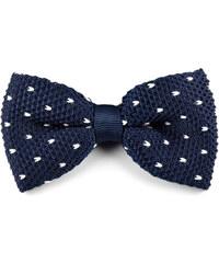 Trendhim Modrý pletený motýlek s bílými puntíky V9-7-7660