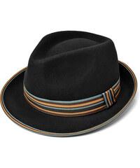 Major Wear Černý klobouk Trilby s barevnou stuhou Wool Felt Trilby Hat