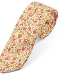 Trendhim Bavlněná kravata s oranžovými květy U1-2-4356