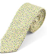 Trendhim Světlá bavlněná kravata s modrými květy U1-3-6398