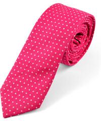 Trendhim Bavlněná růžová kravata s bílými puntíky U1-6-5058