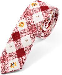 Trendhim Červeno-bílá károvaná kravata s květinami U1-7-7367