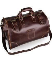 Delton Bags Hnědá kožená cestovní taška AC17