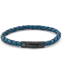 Lucleon Modro-černý kožený zaplétaný náramek L5-6TDB - black lock - lion logo - color 14 #