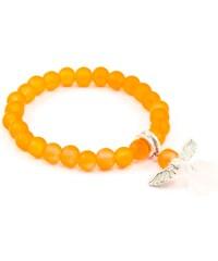 JewelsHall Dětský náramek s andělíčkem - neonově oranžový