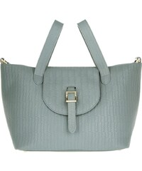Meli Melo Sacs portés main, Thela Medium Woven Leather Blue Heron en bleu, gris