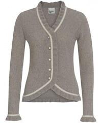 Distler Damen Strickjacke Cardigan figurnah grau mit Wolle