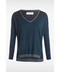 Pull femme bicolore Bleu Fil metallise - Femme Taille L - Bonobo