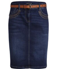 Jupe en jean studs poches ceinture Bleu Synthetique (polyurethane) - Femme Taille 38 - Bréal